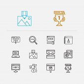 Search Icons Set. Seo Optimization And Search Icons With Image Optimization, Link Building And Mobil poster