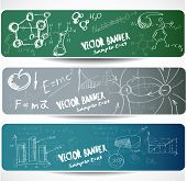 Set of the  scientific symbols drawn by a chalk on a blackboard.