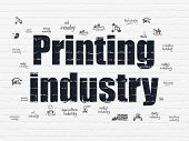Industry Concept: Painted Black Text Printing Industry On White Brick Wall Background With  Hand Dra poster