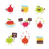 Rosh Hashanah Jewish Holiday Banner Design With Honey Jar, Apple And Pomegranate Funny Cartoon Chara poster