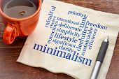 cloud of words associated to minimalism as a lifestyle - handwriting on a napkin with a cup of coffe poster