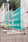 Roadway Signs On An Overpass