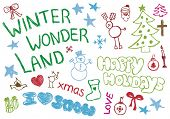 picture of happy holidays  - Happy holiday christmas doodles - JPG