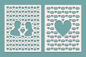 Set Of Die Laser Cutting Panels With Openings In The Form Of Silhouettes For Valentines Day. May Be  poster