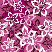 stock photo of dessin  - Seamless lilly flowers pattern in vector - JPG