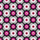 seamless seventies retro background with flowers pattern in vector