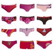 foto of knickers  - Cute teens underwear fashion in vector - JPG