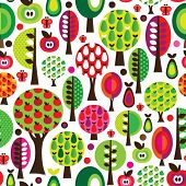 Seamless cute butterfly tree apple and pear pattern in vector