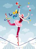 stock photo of juggler  - Circus performer juggling with balls on wire - JPG