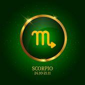 Horoscope. Scorpio. Zodiac Icon. Zodiac Constellations. Vector Illustration poster