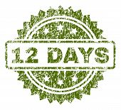 12 Days Stamp Seal Watermark With Dirty Style. Green Vector Rubber Print Of 12 Days Title With Dirty poster