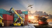 Business Logistics And Transportation Concept Of Container Cargo Ship And Cargo Plane With Working C poster