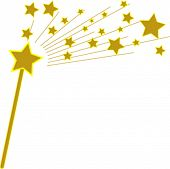 picture of magic-wand  - Vector Golden Magic Wand and Stars - JPG