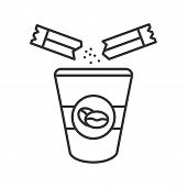 Adding Sugar To Coffee Linear Icon. Thin Line Illustration. Disposable Coffee Cup And Sugar Sachet.  poster