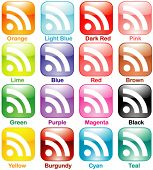 Vector Shiny Colorful RSS Set Part 1 of 3 - Rounded Square Shape