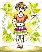 Pretty Little Redhead Girl Standing On Background Of Spring Landscape And Wearing Different Casual C poster