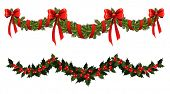 stock photo of christmas wreaths  - Christmas garlands - JPG