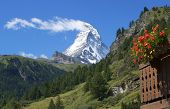 Summer view with Matterhorn mountain in Switzerland