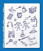 Back to school. Set of vector school doodle elements