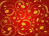 vegetative ornament with rouses, gold & red colors. A vector illustration.