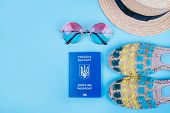 Travel Flatlay With Biometric Passport, Gradient Round Sunglasses, Straw Boater Hat And Espadrille S poster