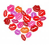 stock photo of corazon  - Heart of kisses for Valentine - JPG