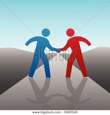 Gente de negocio socio para avanzar juntos