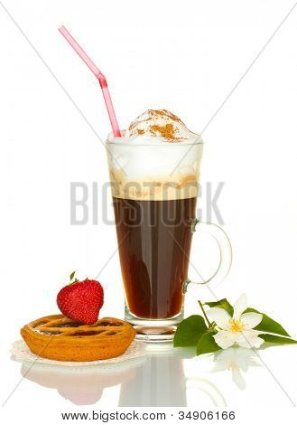 glass of coffee cocktail with tart on doily, strawberry and flower isolated on white