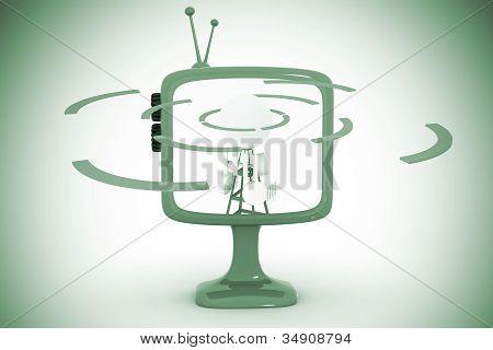 Cell Phonetower Inside A Retro Tv