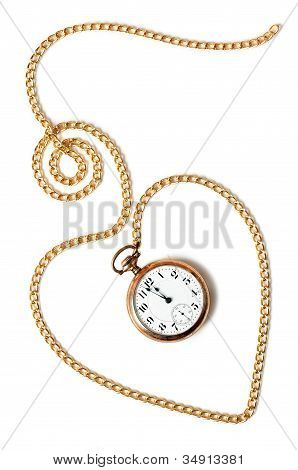 Heart Chain With Old Pocket Watch Isolated On White Background