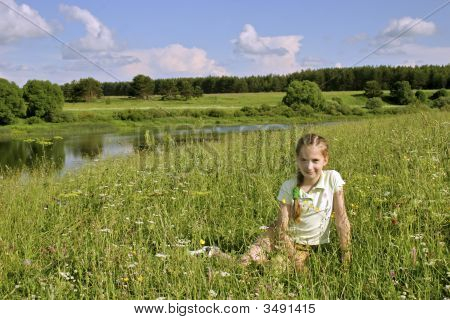 Girl On Meadows