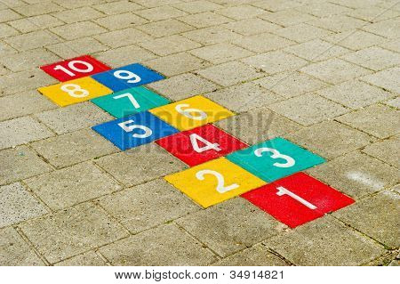 Colorful hopscotch with numbers to ten