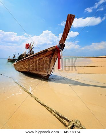 Traditional Thai Longtail Boat On Beach