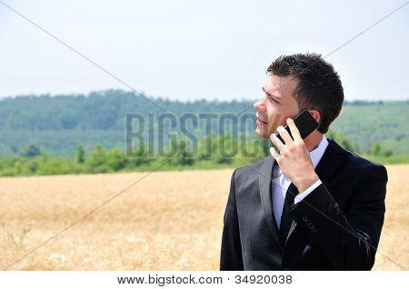 Business man on wheat field