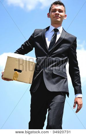 Business man delivery a box