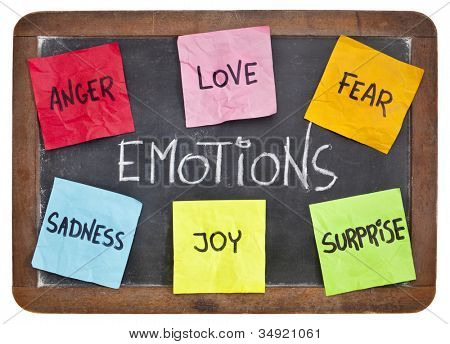 six basic emotions - love, fear, joy, anger, surprise and sadness - sticky notes on a vintage slate blackboard