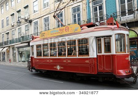 Portugal, The Touristy Old Tramway In Lisbon