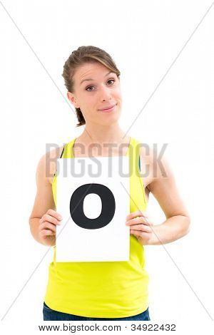 happy portrait young woman with board yes