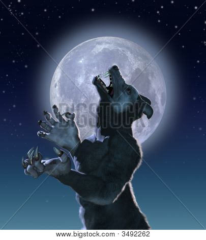 Mutant Wolf In Moonlight