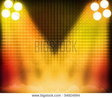 Gold Show Room Spotlights Stage Background