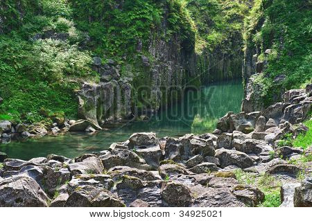 Beautiful gorge Takachiho with a blue river, Japan - Kyushu island