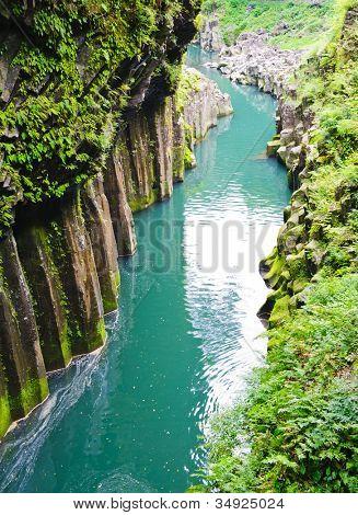 Beautiful gorge Takachiho with a blue river, Japan - Kyushu island