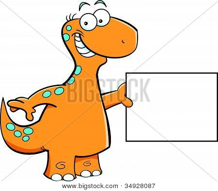 Brontosaurus with a sign