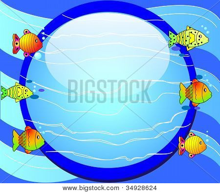 Round Background With Fish And Glass