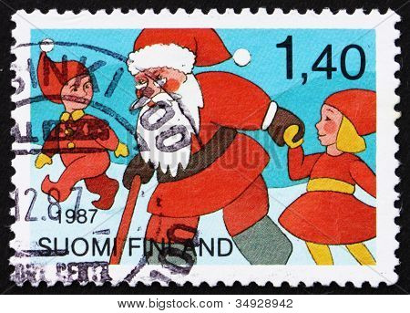 Postage stamp Finland 1987 Santa Claus and Youths