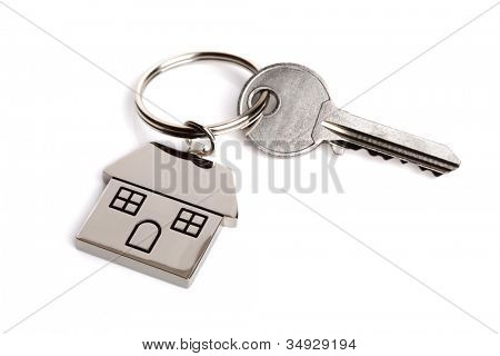 Silver house shaped keychain isolated on white