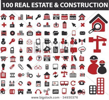 100 imóveis & conjunto de ícones de construção, vetor