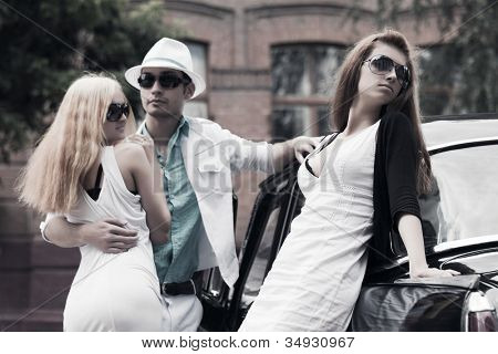 Young couple and jealous girl