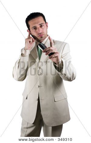 Businessman On The Pda Phone With An Ear Piece
