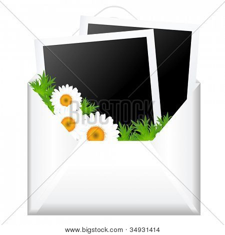 Open Envelope With Photo And Flowers, Isolated On White Background